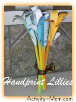 Handprint Lillies ~ Mothers Day Craft