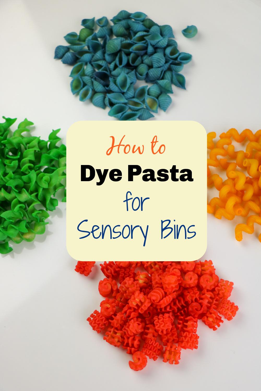 how to dye pasta for sensory bins