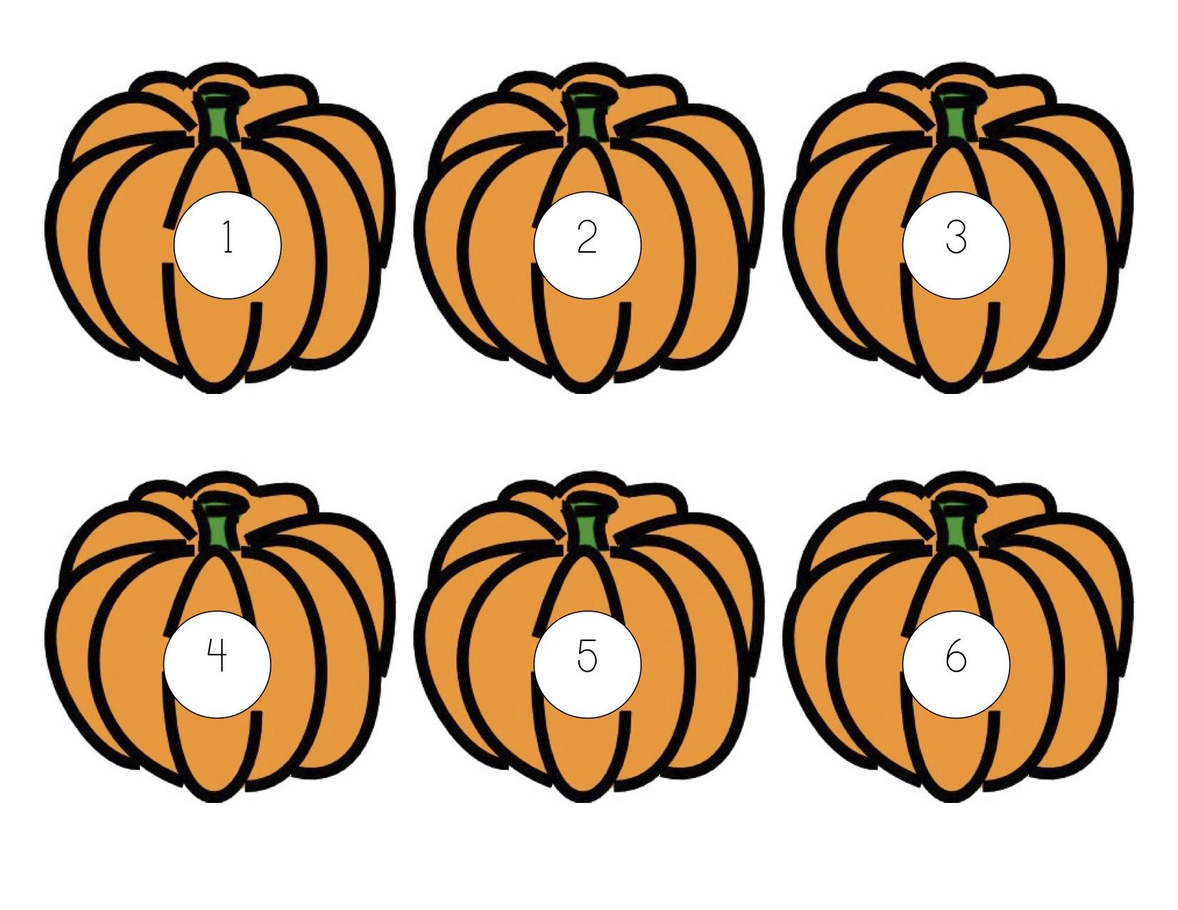 Pumpkin Preschool Dice Game