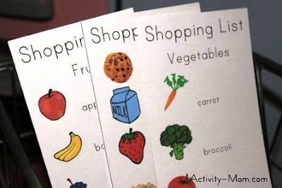 Free, Printable Shopping Lists for Pretend Play
