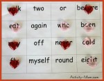 Sight Word Game – Four in a Row (printable)