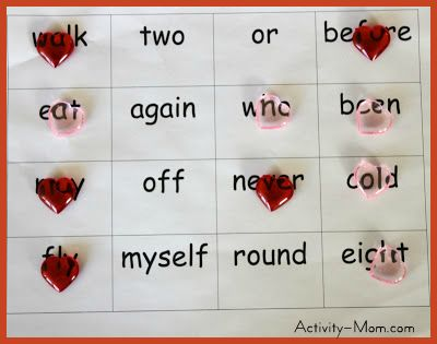 Four in a Row Sight Word Printable Game