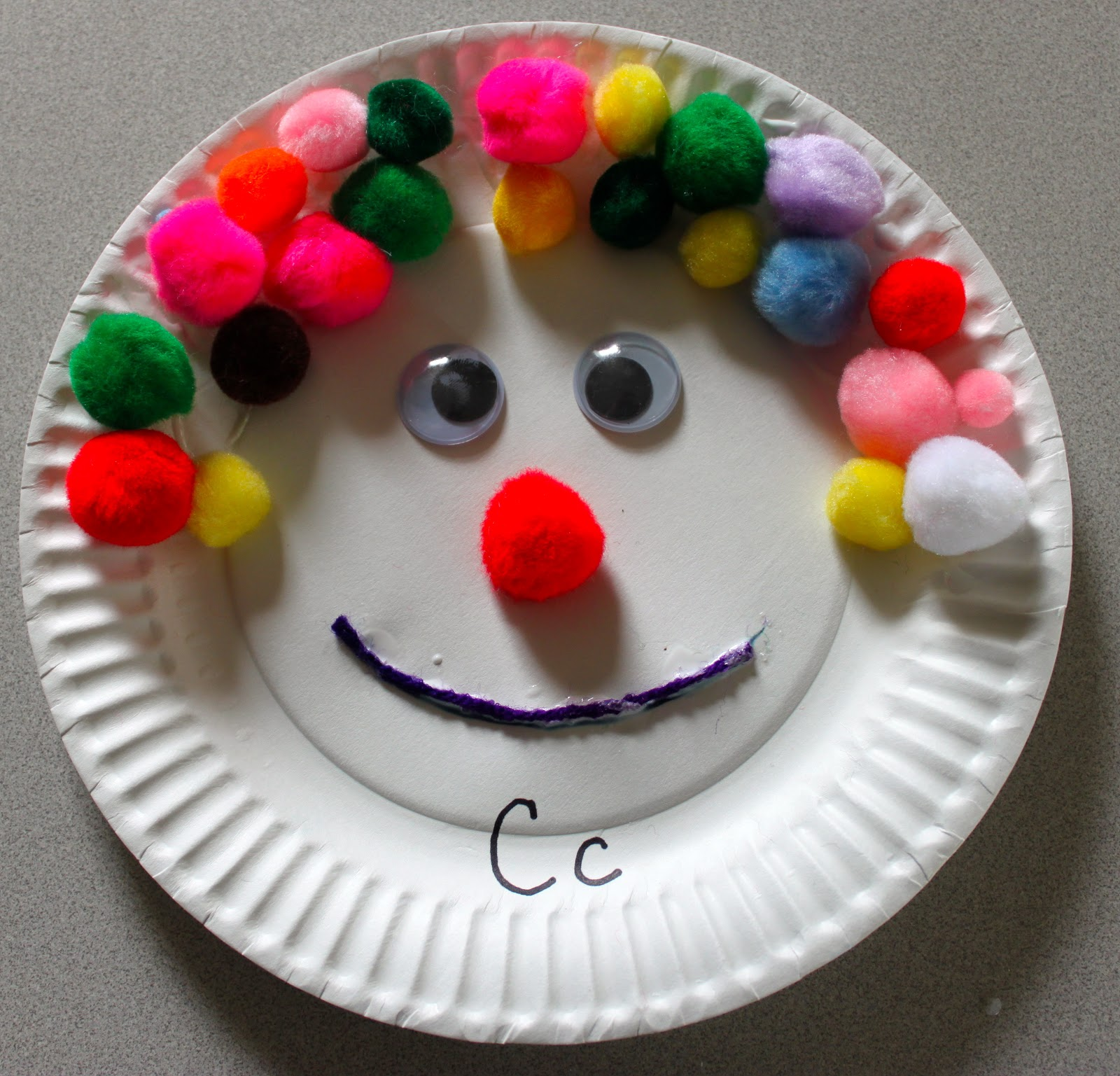Paper Plate Craft & The Activity Mom - Paper Plate Craft - C is for Clown - The Activity Mom