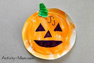 paper plate alphabet craft J is for Jack o Lantern