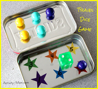 preschool travel dice game