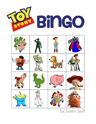 Printable Toy Story Bingo from Six Sisters' Stuff