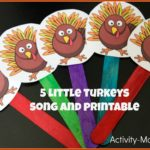 5 Little Turkeys Song and Puppets