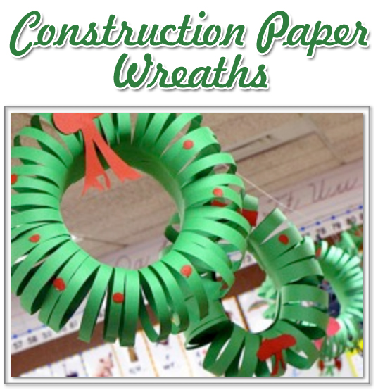 christmas craft construction paper wreaths - Christmas Construction Paper Crafts