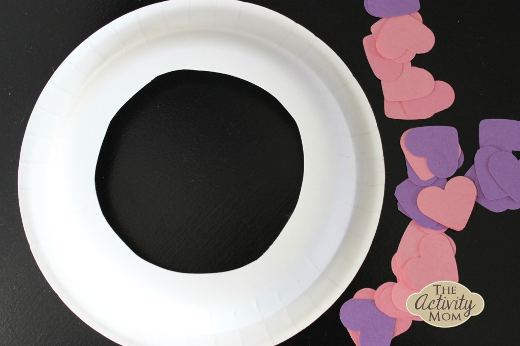 paper plate Heart Wreath
