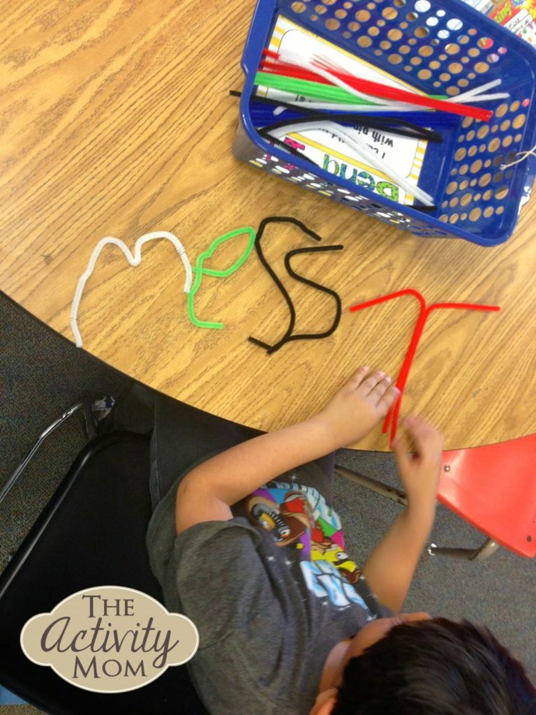 Spelling words with pipe cleaners