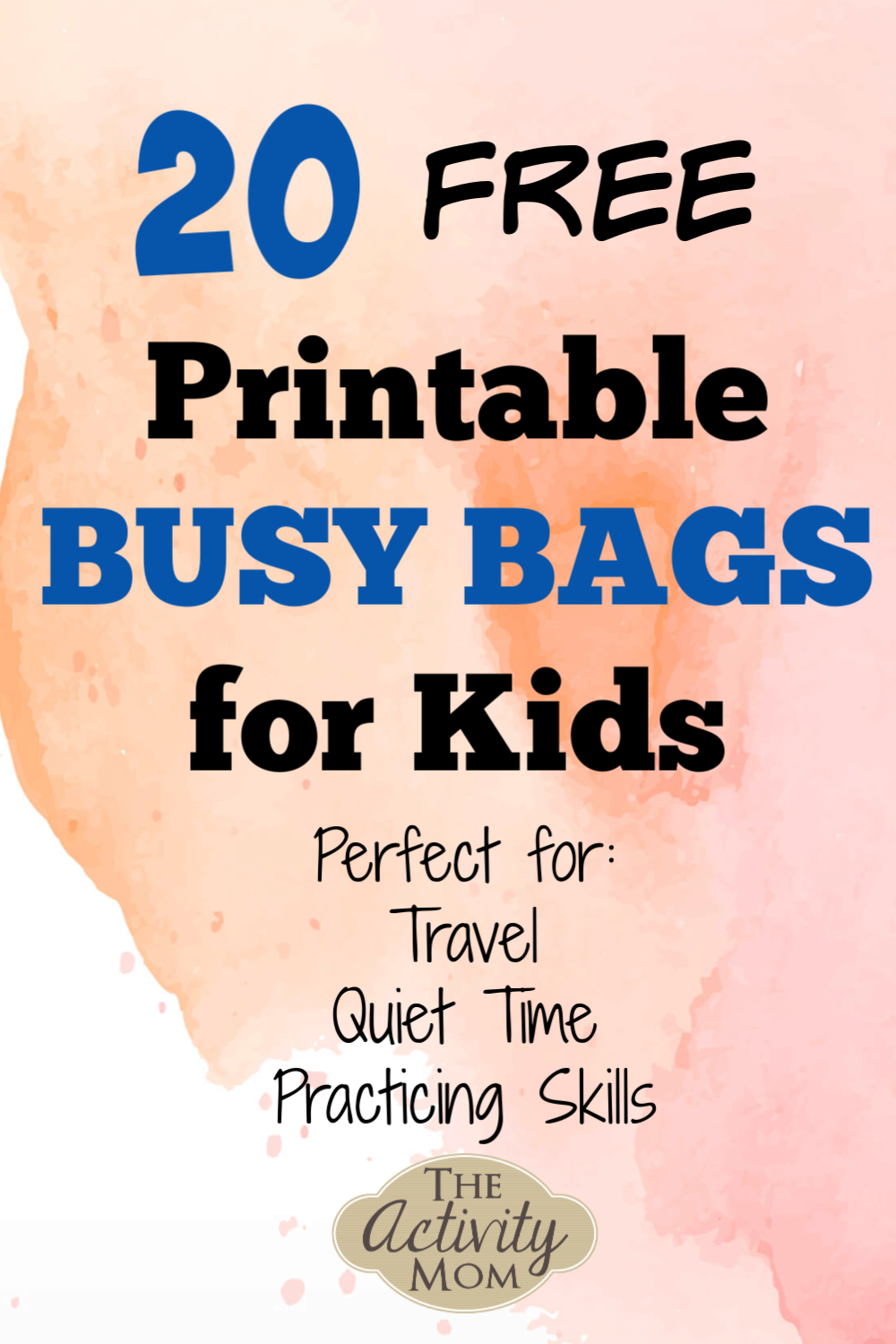 Free Printable Busy Bags for Kids