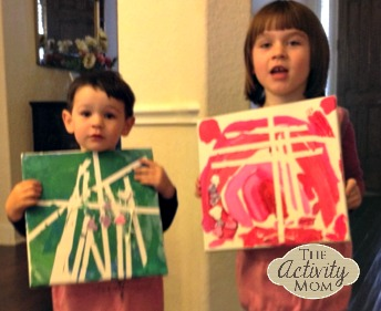 Kids' Tape Art on a Canvas