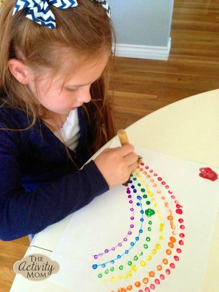 rainbow qtip painting