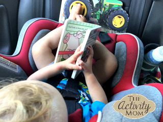 books in the car seat