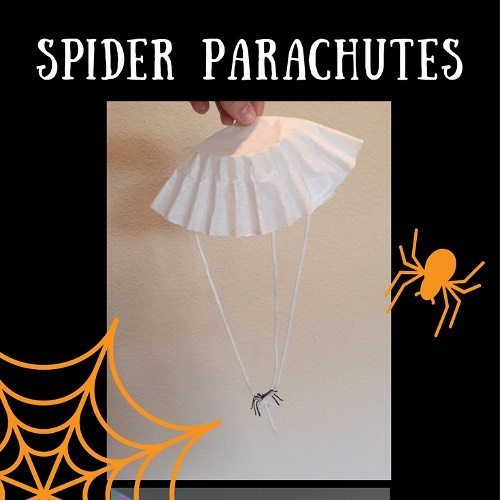 parachutes with plastic spiders