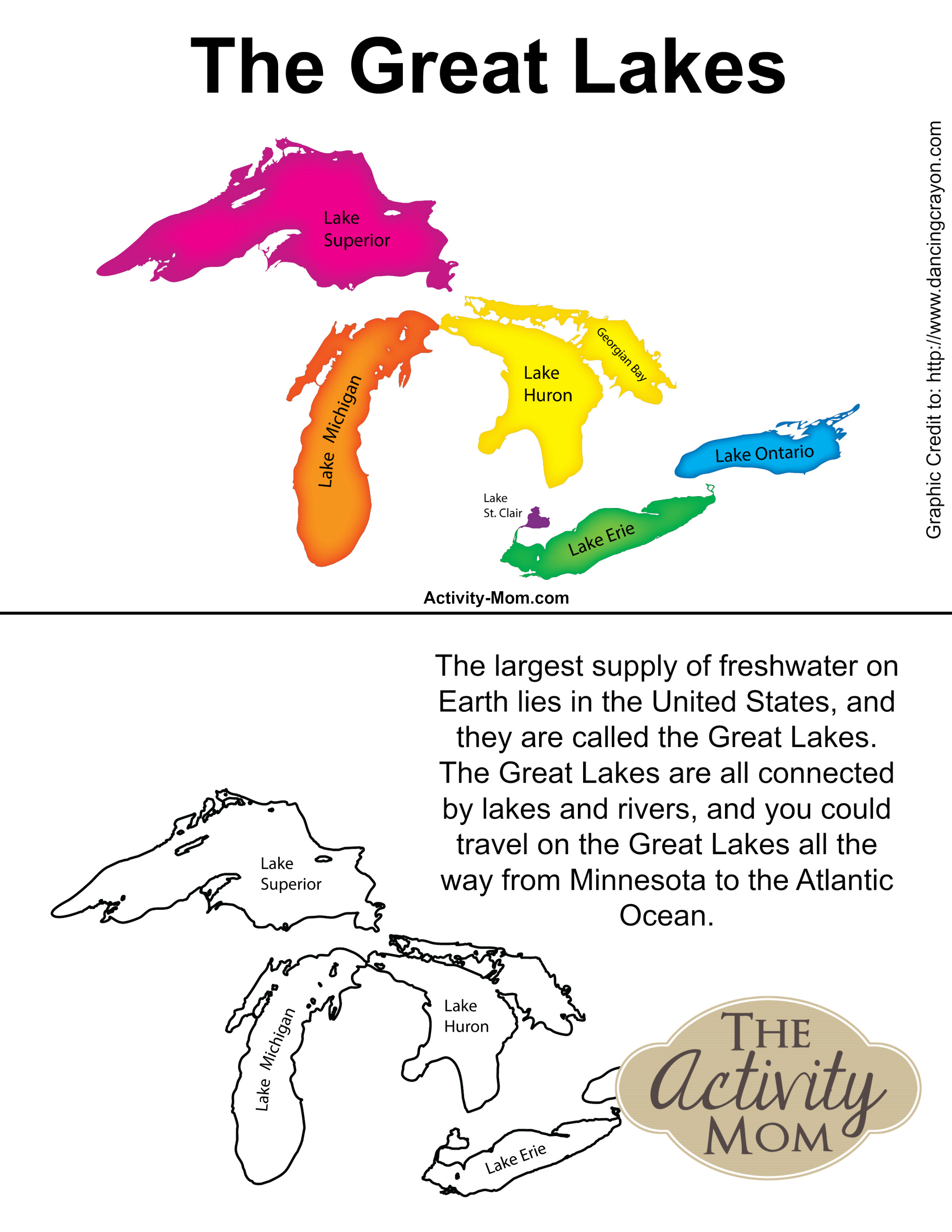 Free Printable Great Lakes Book for Kids