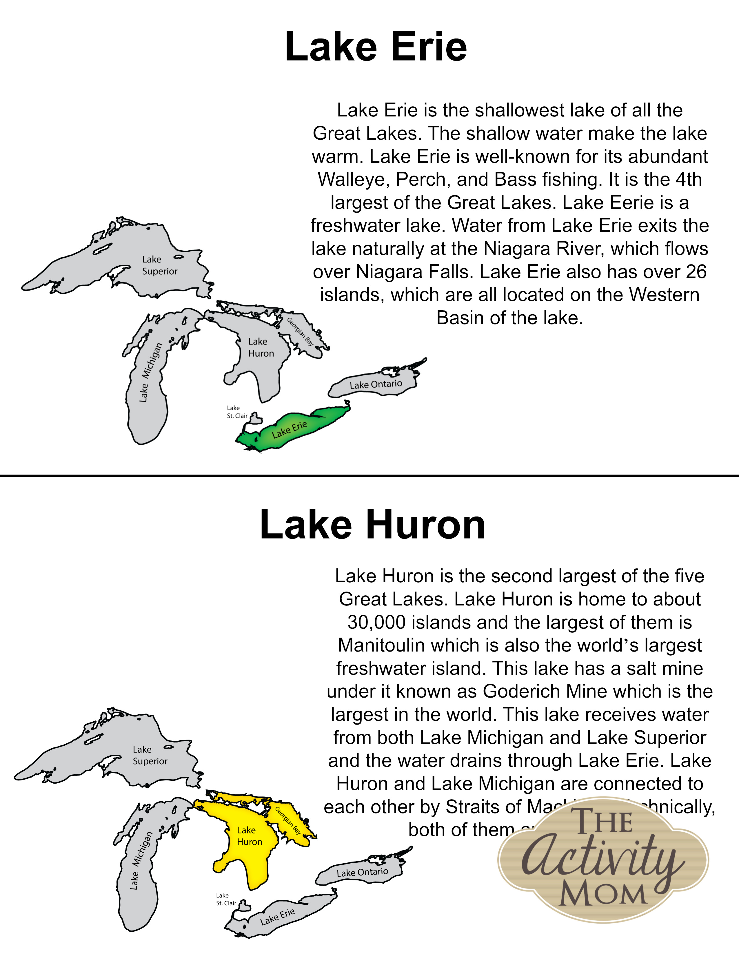 Free Printable Book about The Great Lakes