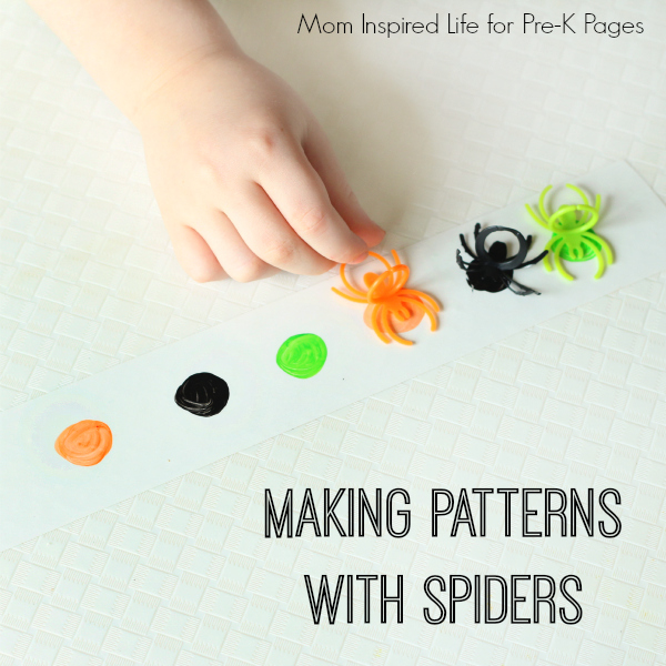 patterns with plastic spiders