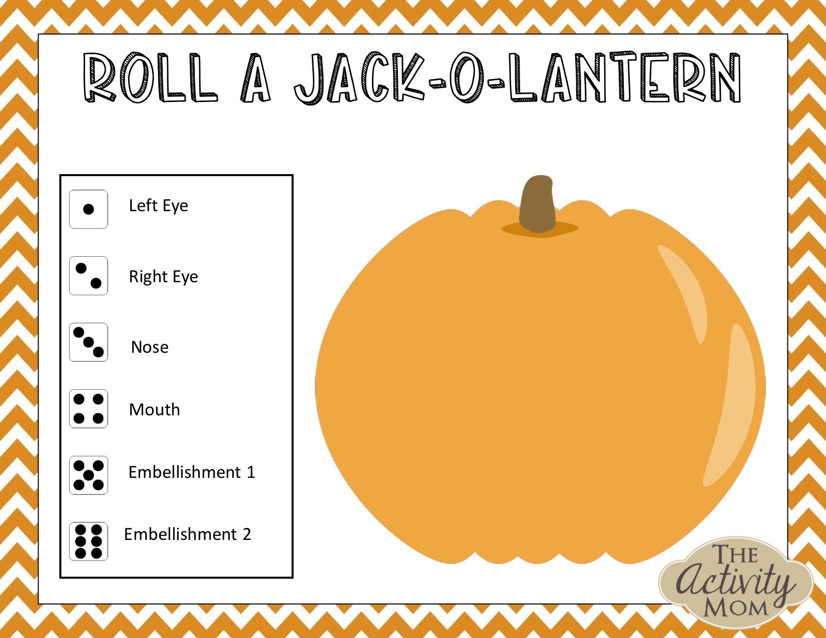 Roll a Jack-O-Lantern Game
