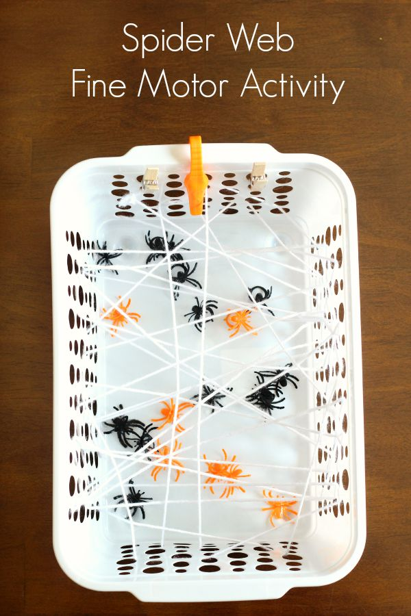 fine motor activity with plastic spiders