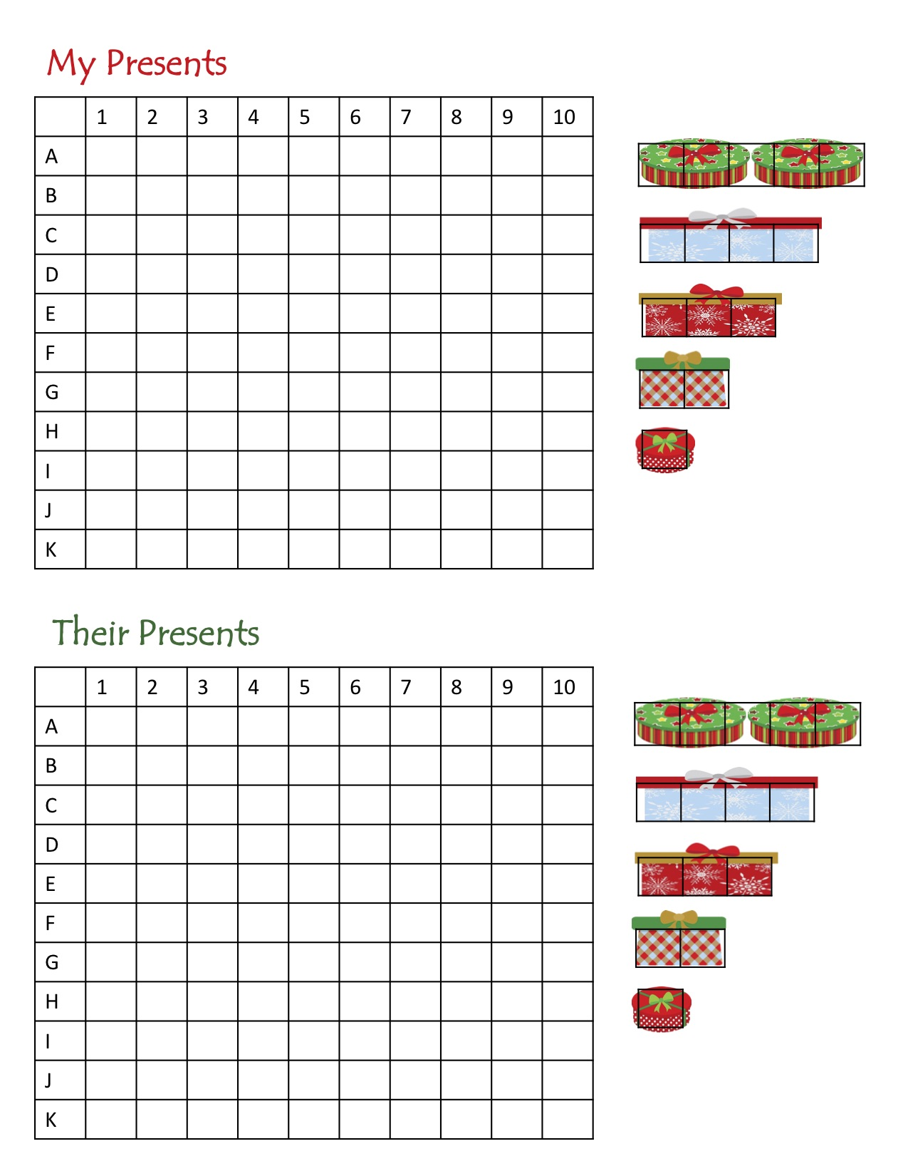 Find the Presents Battleship Game free printable