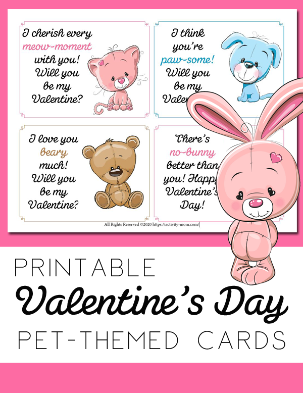 Free, printable pet valentines