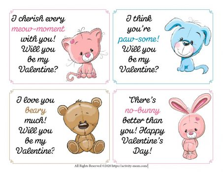 Free, printable pet valentines for kids