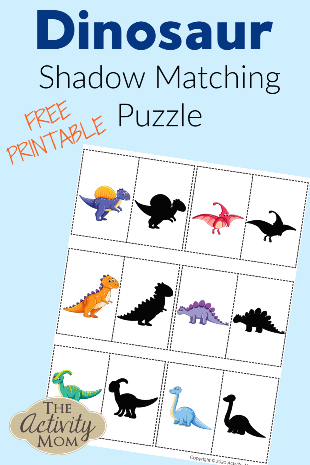 Dinosaur Shadow Matching Puzzle