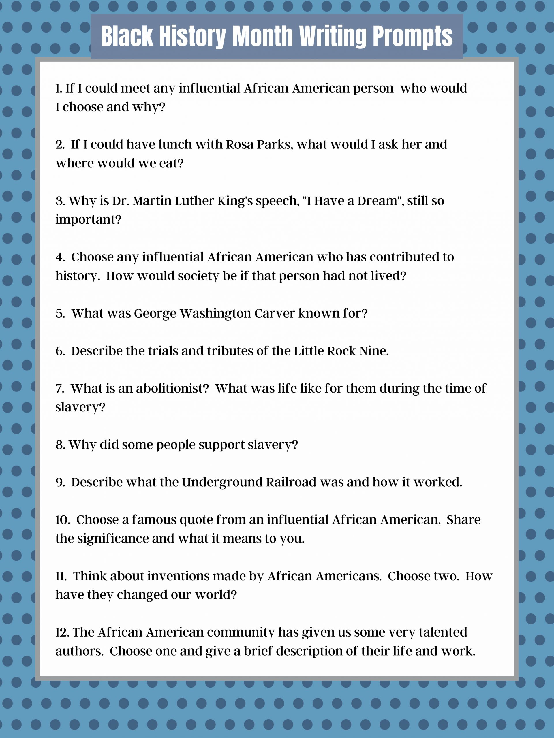 Black History Month Writing Prompts for Kids