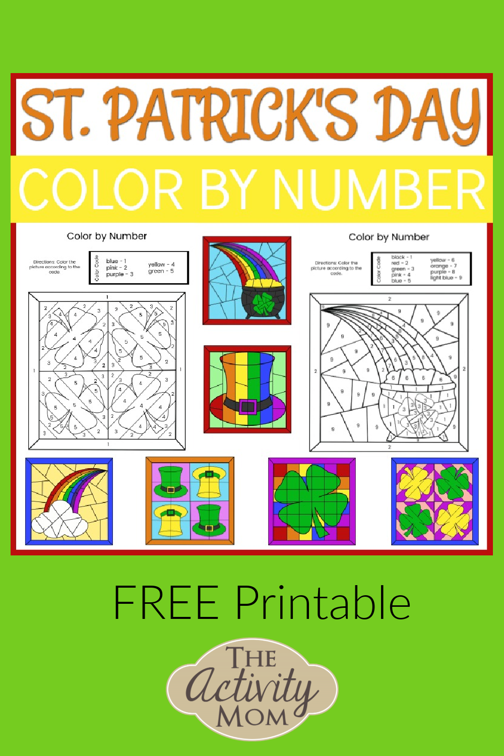 St. Patrick's Day color by number pages