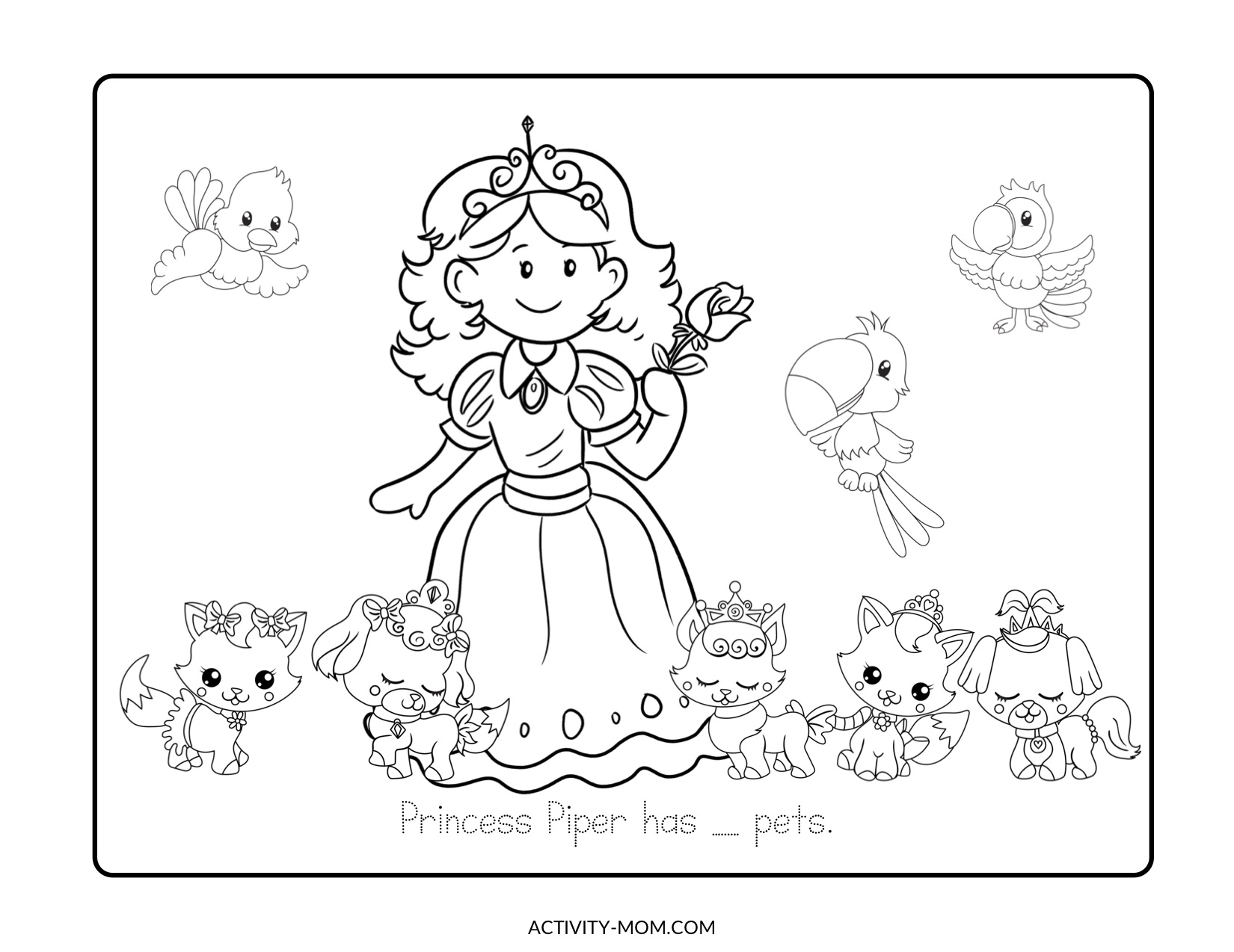 Princess Pets Count and Color Activity Pages FREE