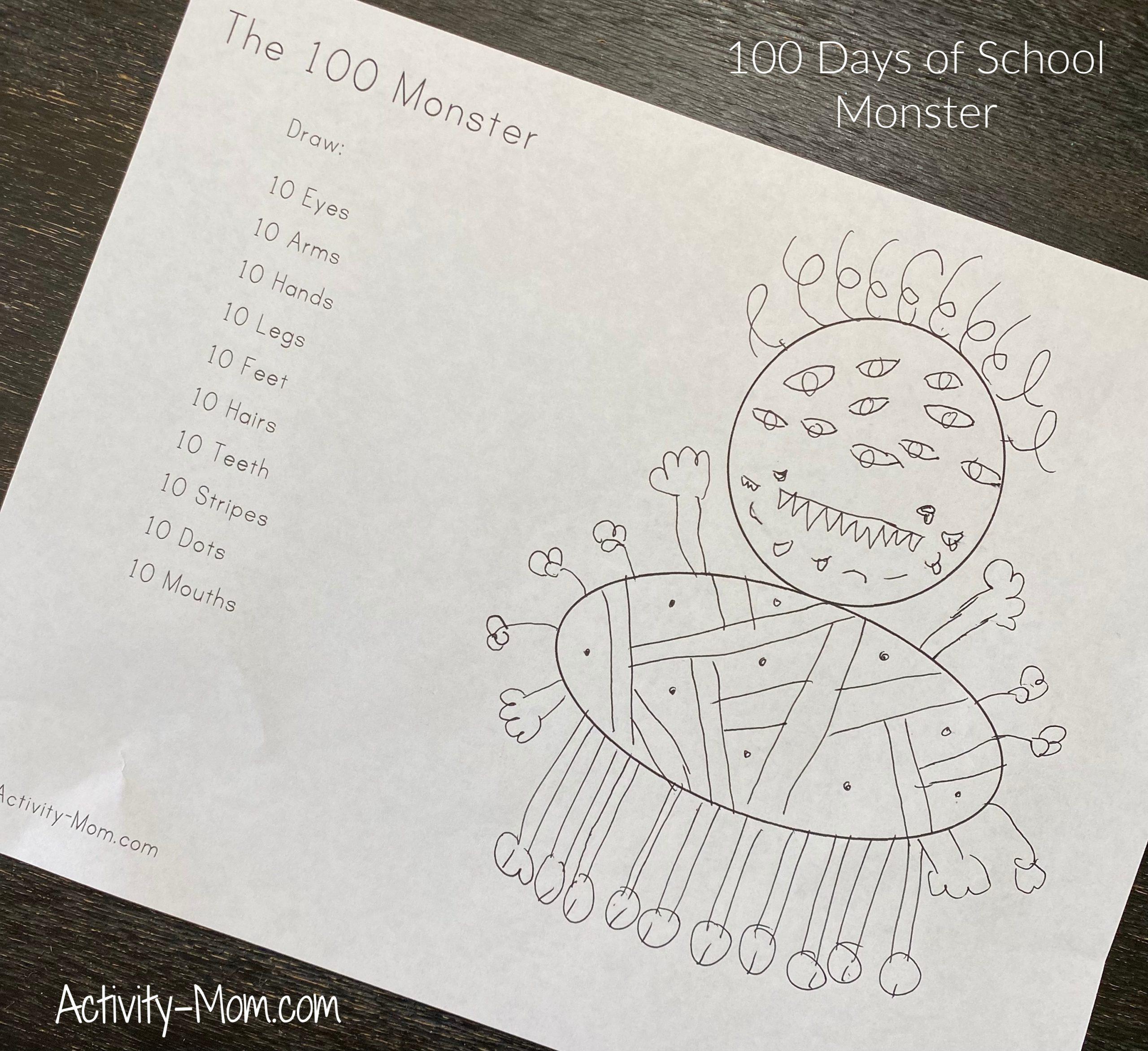 100 Days of School Activities for Kindergarten 100 Monster