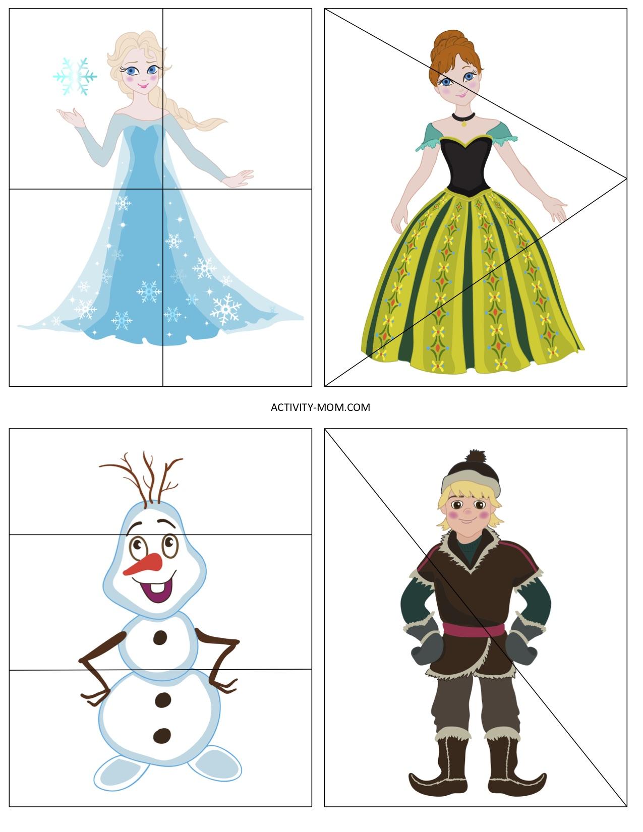 Frozen Preschool Puzzles Printable