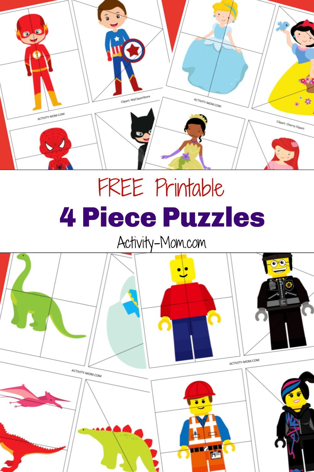 FREE Printable 4 Piece Puzzles for Kids
