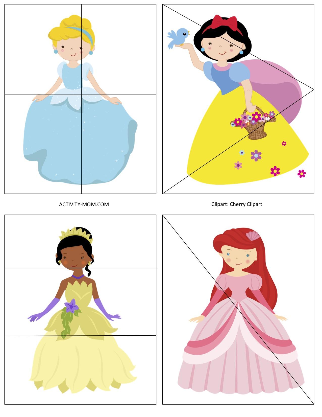 Princess Printable 4 Piece Puzzles