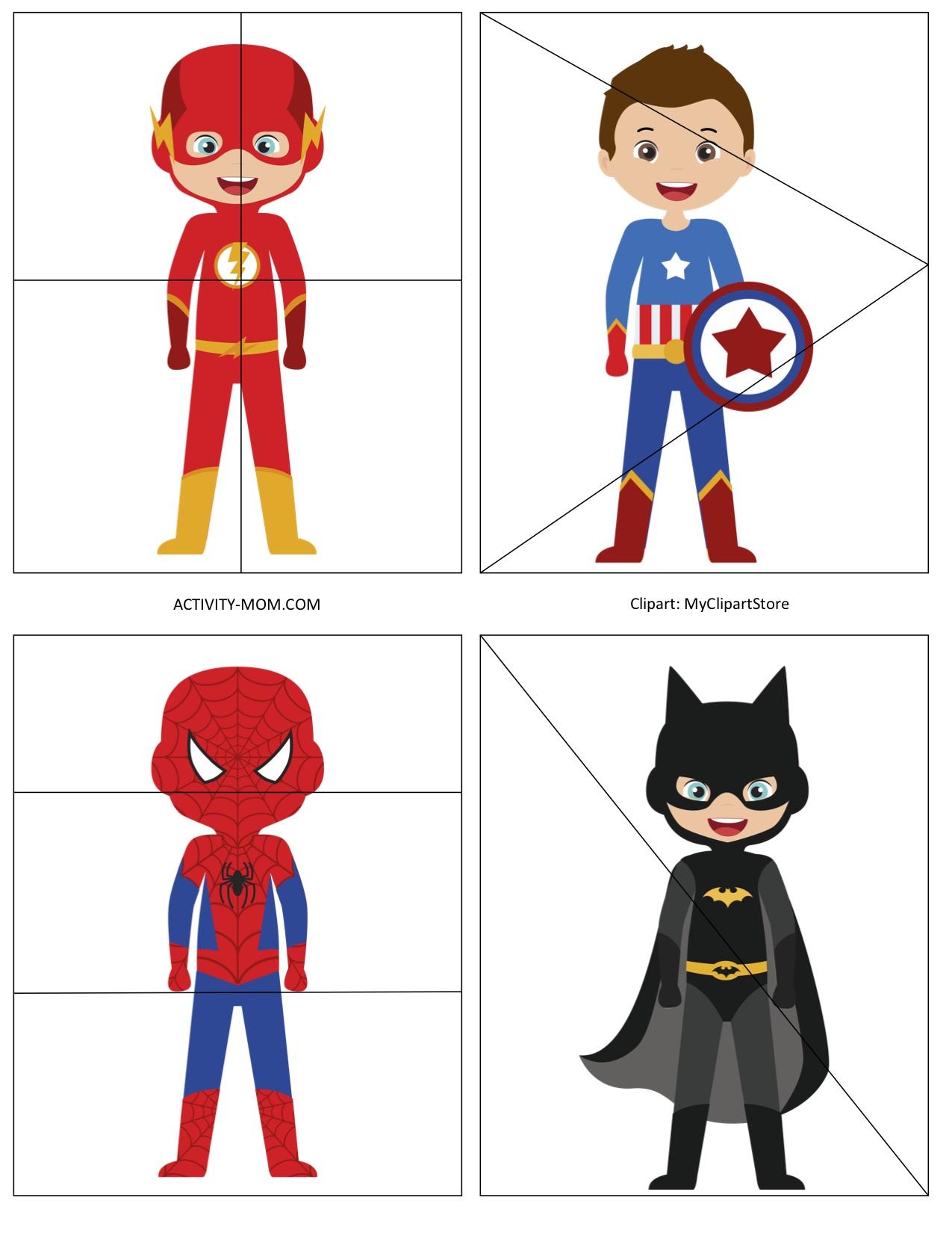 Superhero Printable 4 Piece Puzzles